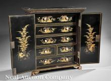 Chinese Export Black Lacquer Miniature Cabinet