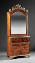 Burled Walnut and Parcel Gilt Secretaire Cabinet