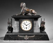 Patinated Bronze and Marble Mantel Clock