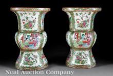 Chinese Export Famille Rose Porcelain Gu Vases
