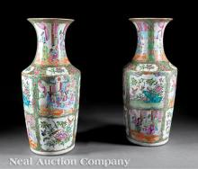 Chinese Export Famille Rose Porcelain Vases