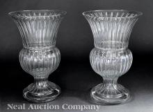 Pair of Baccarat-Style Panel Cut Glass Urns