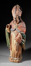 Carved and Polychromed Wood Figure, Papal Saint