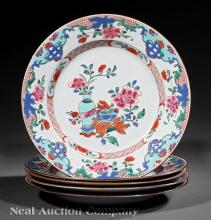 Five Chinese Export Famille Rose Porcelain Plates