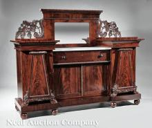 Carved Mahogany Sideboard, porb. Quervelle