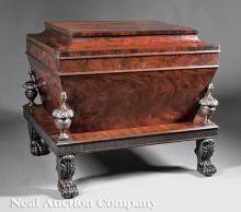 Carved Mahogany Sarcophagus-Form Cellarette