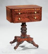 Mahogany & Maple Work Table, signed John Sailor