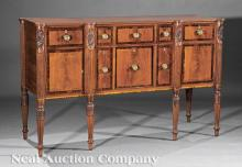 Carved, Inlaid Mahogany Sideboard, attr. Seymour