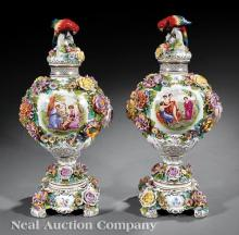 Pair of German Porcelain Covered Urns