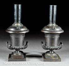 Pair of Patinated Bronze Portable Argand Lamps