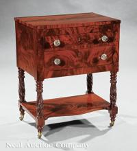 Carved Mahogany Work Table, poss. Michael Allison