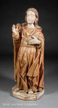Carved, Polychromed and Gilt Figure of St. Thomas