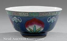 Chinese Famille Rose, Blue Ground Porcelain Bowl