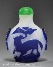 Chinese Blue Overlay Snowflake Glass Snuff Bottle