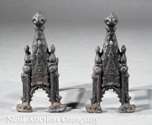 Pair of American Gothic Cast Iron Andirons