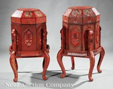 Chinese Red Lacquer Covered Boxes on Stands