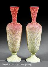 Pair of American Coralene Glass Vases