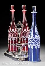 Three Bohemian White Overlay Cut Glass Decanters