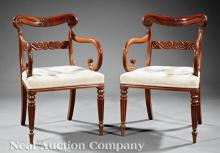 Carved Mahogany Armchairs, attr. Trotter