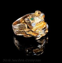 14 kt. Yellow Gold, Diamond and Emerald Ring