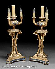 Carved and Parcel Gilt Four-Light Lamps