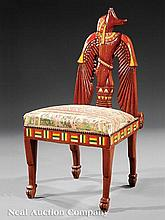 An Egyptian Revival Bone Inlaid Side Chair