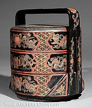 Chinese Polychrome Black Lacquered Storage Box