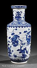 Chinese Blue and White Porcelain Rouleau Vase