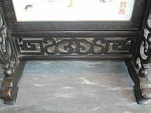 Chinese Famille Rose Porcelain Hardwood Screen