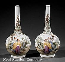 Chinese Famille Rose Porcelain Bottle Vases