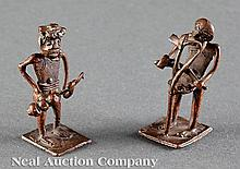 Two Asante Bronze Figural Gold Weights
