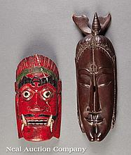 Two Indonesian Carved Wood Masks