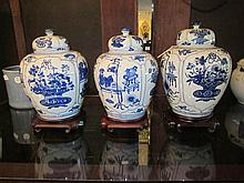 Three Chinese Blue & White Porcelain Covered Jars