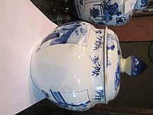 A Chinese Blue and White Porcelain Covered Jar