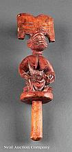 A Yoruba Carved Wood Dance Staff