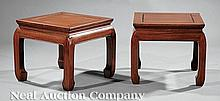 A Pair of Chinese Hardwood Stools