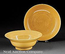 A Chinese Yellow Glazed Porcelain Bowl and Dish