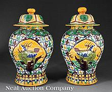 Chinese Molded Polychrome Porcelain Covered Jars