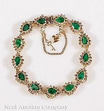 14 kt. Yellow Gold, Emerald and Diamond Bracelet
