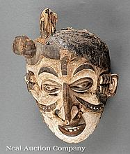 Igbo Painted and Pitch Decorated Carved Wood Mask