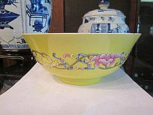 Chinese Famille Rose Yellow Ground Porcelain Bowl