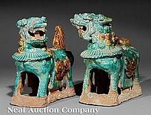 A Pair of Chinese Tilework Pottery Figures