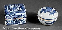 Two Chinese Blue and White Porcelain Boxes