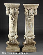 Beaux-Arts Carved Wood Architectural Pilasters