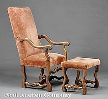 An Louis XV Carved Walnut Fauteuil and Stool