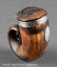 Scottish Silver-Mounted Ram's Horn Snuff Mull