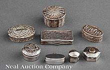 A Group of Seven Silver Pill Boxes