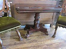 Carved Mahogany Games Tables, attr. Quervelle