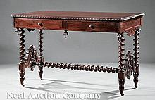 Carved Rosewood Library Table attr. Roux