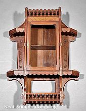 Eastlake Carved, Incised Walnut Hanging Cabinet